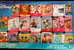 NEW Disney Set of 20 Puzzles Individual Game Tins Pack Kids Family Fun Gift Set!