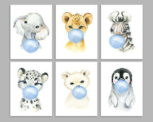 Safari Animals Blowing Bubbles, Nursery Prints, Boys Room Baby Wall Art Pictures