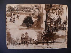 Orfeo Tamburi acquarello originale Parigi 1950 corrida nudo maschile Paris M