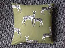 "Handmade Cushion Cover Green Woodland Deer Zip Closure 16"""