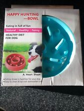 Happy Hunting Feeder Bowl For Dogs Stop Bloat Slow Feeding Teal Blue Flower Shpe