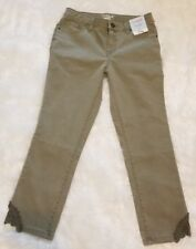 Cat & Jack Girl's Super Skinny Jeans Olive Green Lace Adjustable Waist Size 14