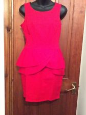 Red Dress 10 LIPSY Limited Edition Waffle Peplum Fitted Wiggle Worn Once