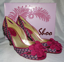 New Ruby Shoo Holly Violet Pink Vintage Print Ladies Wedge Heel Shoes Sz 5 Boxed