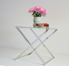 Lily Polished Stainless Steel Side Table W/ Black Glass( display item, pick up o