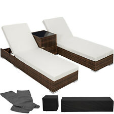 2x Tumbona chaise longue de aluminio poli ratán + Mesa de jardín terraza
