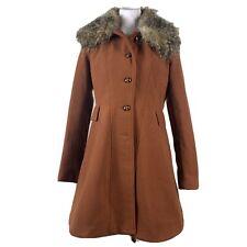 Bar Iii Womens Brown Faux Fur Faux Wool Winter Pea Swing Coat Jacket Size Large