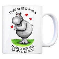 Ich liebe dich aus vollem Hintern - Kaffeebecher Nilpferd Kaffeetasse Tasse Po