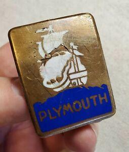Original PLYMOUTH Rectangular Enamel Radiator Badge Emblem 1929 Only