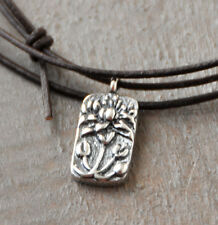 Tiny Lotus 925 Sterling Silver Pendant Necklace/Bracelet , Leather, adjustable