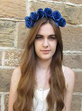 Blue Rose Flower Garland Headband Hair Crown Boho Vintage Festival Headdress V69