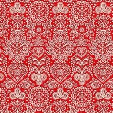Christmas Scandi Lace Rot Patchworkstoff Weihnachtsstoff Stoffe Patchwork Spitze