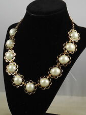 Kate Spade Gold TAKING SHAPES Black Scallop Edge Faux Pearl Collar Necklace $168