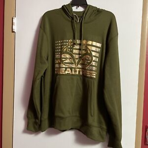 Realtree Men's Hoodie• Poly Pullover Fleece • Army Green• USA Flag • Size Large