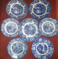 Liberty Blue Enoch Wedgwood Woods Woodland Saucers Made in England 7 Pc. Lot