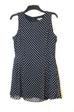 NAVY BLUE WHITE SPOTTY LADIES CASUAL PARTY MINI SHORT DRESS SIZE L LOVE FLARE