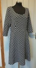 Boden black & white spotty polka tunic dress 16L fit & flare woven 3/4 sleeve