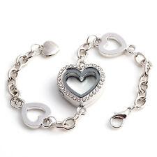 Heart Full Crystal Living Memory Locket for Floating Charms Bracelet Magnetic