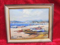 Pretty Gemaelde__Mediterranean Coastal Landscape with Boats Signed: Camps __