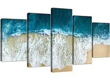 EXTRA Large panoramico Blu Spiaggia-Seascape Canvas 5 Set-larghezza 160cm