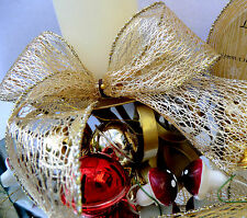 1m  63mm WIRED GOLD CHRISTMAS RIBBON METALLIC DECO WEB,LACE MESH,GIFT, BOW TREE