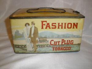 Vintage Fashion Cut Plug Tobacco Tin Litho Case Lunch Pail Advertising