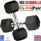 Hex Dumbbells 5kg-27.5kg Pair Cast Iron Hand Weight Rubber Encased Dumbbells Set
