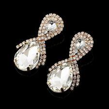 New Women Crystal Drop Long Wedding Dangle Earrings Brides Bridesmaids Jewellery