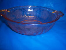PINK DEPRESSION Jeannette GLASS floral pointsettia HANDLED BOWL vintage antique
