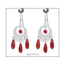 Sterling Silver Chandelier Earrings w/ Red Coral #53071