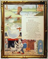 Benjamin Rabier 1906 2 Illustrations Fable Of the Fountain Cygne Chef Lion
