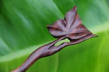 Handmade wooden HAIR STICK PICK / SHAWL PIN carved LEAF new Sono wood WAVY Grip!