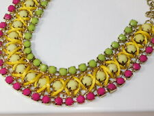 Bold Pink Green Yellow Rhinestone Wide Gold Chain Collar Necklace extndr K1