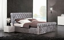4FT6 Side Lift Ottoman Storage Bed With Diamante Headboard Crushed Velvet Silver