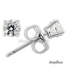 4MM ROUND BRILLIANT CUT CZ .925 STERLING SILVER FASHION STUD EARRINGS