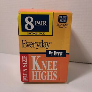 Leggs Knee High Plus Size Suntan Sheer Toe 8 pairs