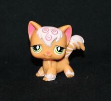 Littlest Pet Shop Lps Orange Pink Angora Cat #511 Green Diamond Eyes Swirl Kitty