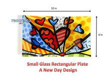 ROMERO BRITTO SMALL RECTANGULAR PLATE: A NEW DAY DESIGN ** NEW **