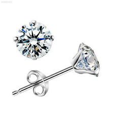 852C 925 Sterling Silver Platinum Plated Crystal Ear Stud Girl Jewelry Gift
