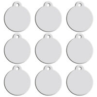 100pcs Silver Personalised Dog Tags Disc Disk Pet Cat Puppy Name ID Collar Tags