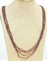 "Vintage Waterfall Purple Glass Seed Bead Multi Strand Necklace - 34 - 38"""