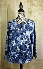 Croft & Barrow womens long sleeves stretch floral print top size petite L bb04