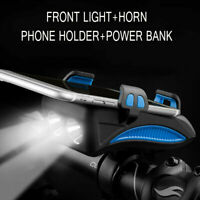 4 in 1 Bike Cycling LED Headlight Speaker Phone Bracket Holder USB Rechargeable