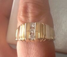 Men's Everyday or Wedding Ring 14k Yellow Gold Natural Diamonds size 10.5