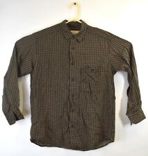 Claiborne Womens Button Down Shirt Checkered Long Sleeve Brown Sz M