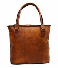 "17"" Women Vintage Genuine Brown Leather Tote Big Shoulder Bag Handmade"