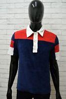 Polo Maglia Uomo GAS Taglia M Maglietta Cotone Shirt Man Manica Corta Blu Rosso