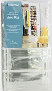 WHITMOR Door Shoe Organizer 24 Pocket Over the- Door Clear Plastic Bag