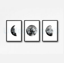 Black Grey Moon Phase Luna Watercolour Paintings Lunar Set 3 Prints 8x10 B2G1F