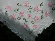 """VINTAGE FLORAL EMBROIDERED LINEN + LACE TABLE CLOTH  30"""" X 32"""""""